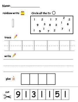 numbers 1 10 printable worksheets find write trace and glue. Black Bedroom Furniture Sets. Home Design Ideas