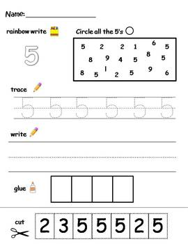 Numbers 1-10 printable worksheets - find, write, trace, and glue!