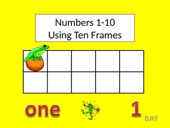 Numbers 1-10 using Ten Frames with Student Worksheet