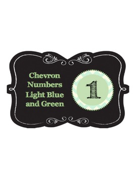 Numbers 1-100 - Chevron light blue and green