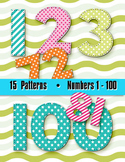 Numbers 1-100 Clip Art - Summer Pattern Colors in Stitches - 100pp PDF 100 PNGs