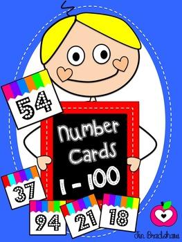 Numbers 1 - 100 ~ Theme BRIGHT STRIPES ~ Calendar ~ Math ~