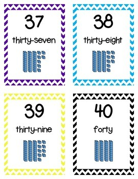 Numbers 1-100 Flashcards with Base Ten