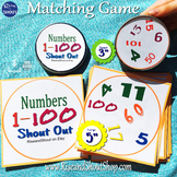 """Numbers 1-100 Matching Game Shout Out; 31, 3""""& 5"""" Cards + boxes"""