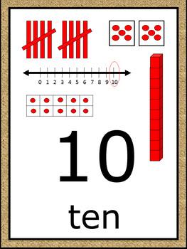 Numbers 1-100 Poster Set - Burlap