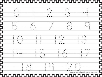 Luscious image pertaining to free printable tracing numbers 1-20 worksheets