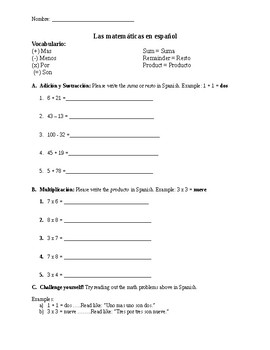 Numbers 1-100 and Math Practice in Spanish