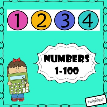 Numbers 1-100 (colored with black edge)
