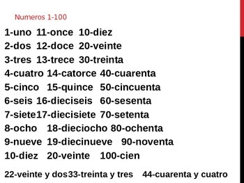 Numbers 1-100 in Spanish (Números 1 a 100 en español)