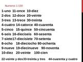Numbers 1-100 in Spanish (Números 1 a 100 en español)