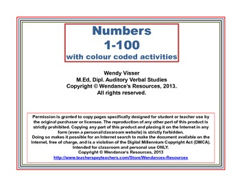 Numbers 1-100 with colour coded activities