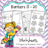 Numbers 11 - 20 No Prep Worksheets Number Bonds, Ten Frame