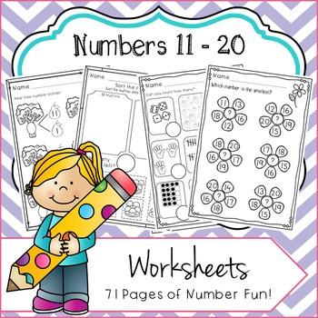 Numbers 11 - 20 No Prep Worksheets: Number Bonds, Ten Fram