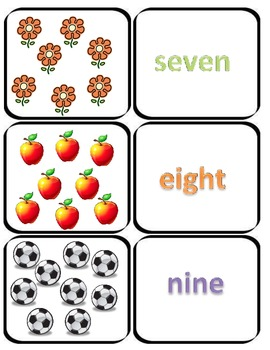 Numbers 1-12 Matching Game and Worksheets