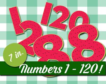 "Numbers 1-120 - 7"" High - 300 DPI - Watermelon Pattern - Clip Art Printable"