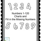 Numbers 1-120 Charts and Fill in the Missing Numbers