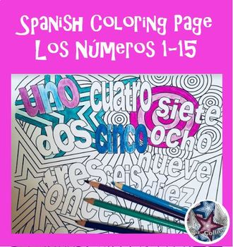 Los números Numbers 1-15 - Spanish Adult Coloring Pages