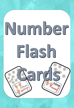 Numbers 1-15 flash cards français et english winter themed