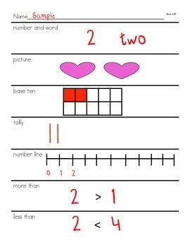 Number line worksheet for Numbers 1-20