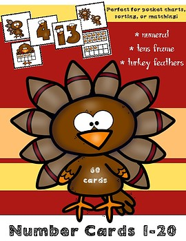 Thanksgiving Number Cards 1-20 (Counting and Cardinality) November