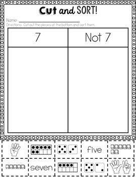 Numbers 1-20 Activities: Cut and Sort
