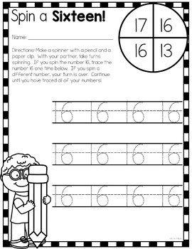 Numbers 1-20 Activities: Spin and Trace