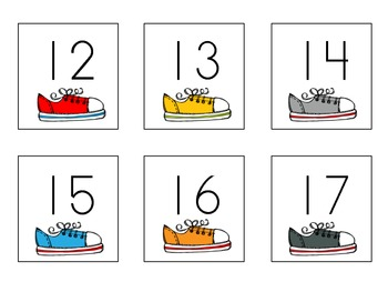 Numbers 1-20 ActivitiesTennis Shoes  (K.CC.3, K.NBT.1)