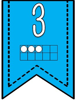 Numbers 1-20 Banner Pennants with Blue Background