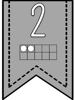Numbers 1-20 Banner Pennants with Gray Background