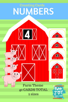 Numbers 1-20 Barn Counting Cards, Farm Theme Flash Cards
