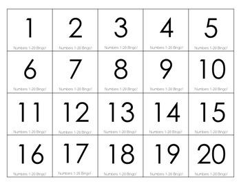 Numbers 1-20 Bingo