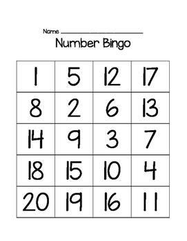 Numbers 1-20 Bingo Cards