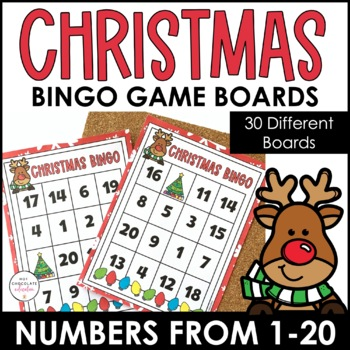 Numbers 1-20 Bingo Game - Christmas Theme