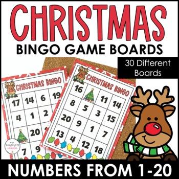 Numbers 1 20 Bingo Game Christmas Theme By Hot Chocolate Printables