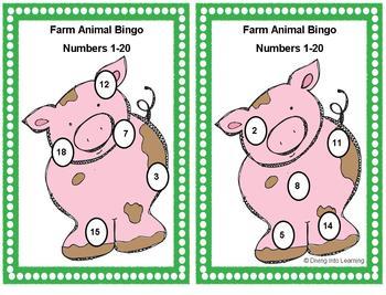 Numbers 1-20 Bingo: Farm Theme