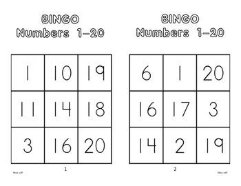 Numbers 1-20 Bingo Game