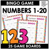Numbers 1 -20 Bingo Game - 25 Different Boards