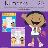Numbers 1-20 Worksheets Bundle (Kindergarten)