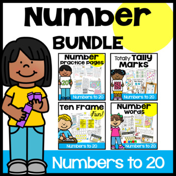 Numbers 1-20 Practice Pages and Pocket Chart Cards Bundle
