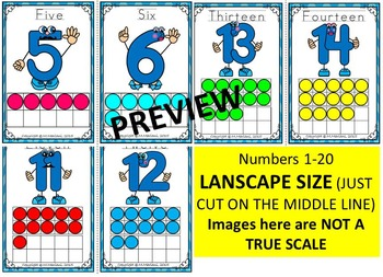 Numbers 1-20 Character Flash Cards with TEN FRAMES WORK MATS