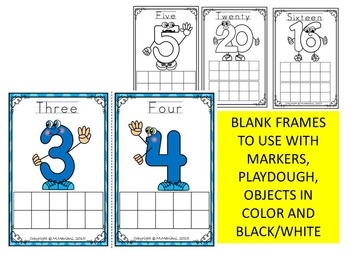 Numbers 1-20 MATH FLASH CARDS-POSTERS with TEN FRAMES WORK MATS