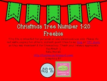 Numbers 1-20 Christmas Tree Freebie
