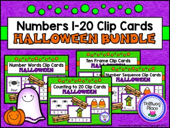 Numbers 1-20 Clip Cards: Halloween {BUNDLE}