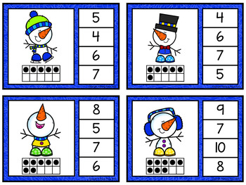 Numbers 1-20 Clip Cards: Winter Snowmen (80 cards)