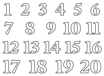 NUMBERS 1-20 COLOURING PAGES by Tutoring By Nadia | TpT