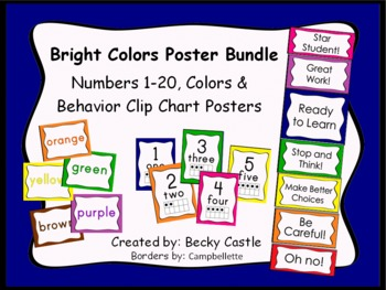 Numbers 1-20, Colors, and Behavior Clip Chart Bundle