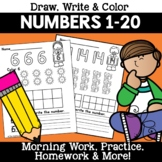 Numbers 1-20  Worksheets Morning Work Homework