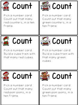 Numbers 1-20 Count, Sequence, Compose, Decompose (Christmas Printables/Centers)