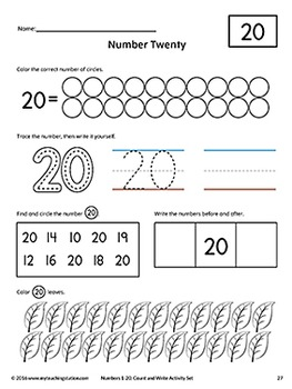 Numbers 1-20: Count and Write Activity Set