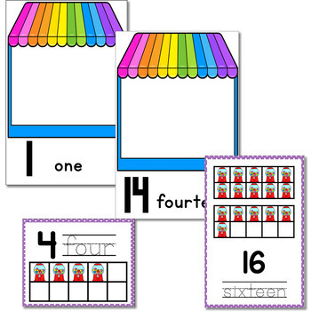 Numbers 1-20 Counting Activities| Bubblegum Machine| Mini Erasers